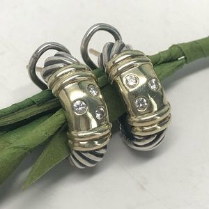 DAVID YURMAN Diamond Metro Huggie Earrings 925/14K